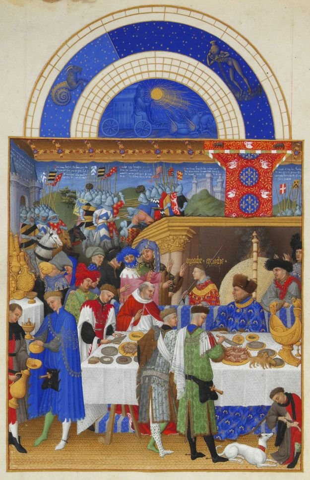 A festive feast representing January in the Très Riches Heures of John, duke of Berry (fifteenth century)