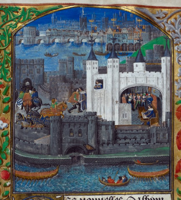 Charles d'Orléans writing in the Tower of London, British Library Additional MS Royal 16 F II, f. 73