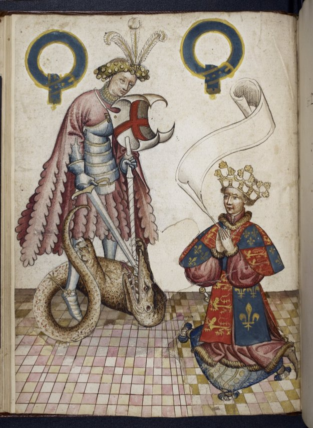 The Garter King of Arms Kneeling before St George in British Library MS Stowe 594, f. 5v.
