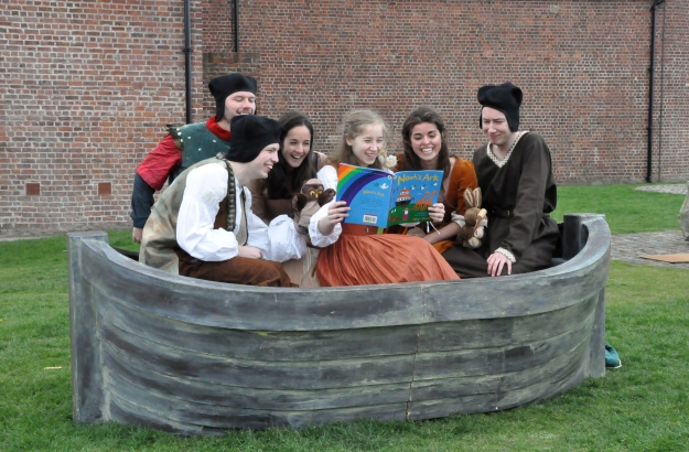 Noah's children enjoy an anachronistic moment in the ark