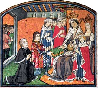 Anthony Woodville presents a book to Edward IV, Elizabeth and Prince Edward. Lambeth Palace MS 265.