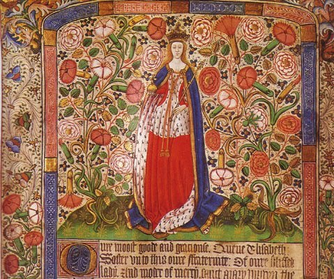 Elizabeth in her coronation robes (Worshipful Company of Skinners Fraternity Book)