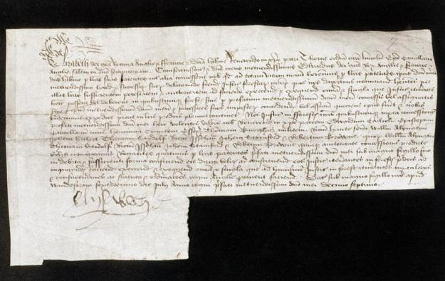 Letter from Elizabeth, with her signature, to the Bishop of Lincoln.