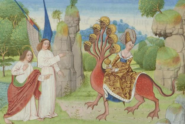 The Whore of Babylon by Loyset Liédet. Apocalypse of Charles the Bold; Belgium, Bruges, ca. 1470. Pierpont Morgan MS M.68, f. 217r.