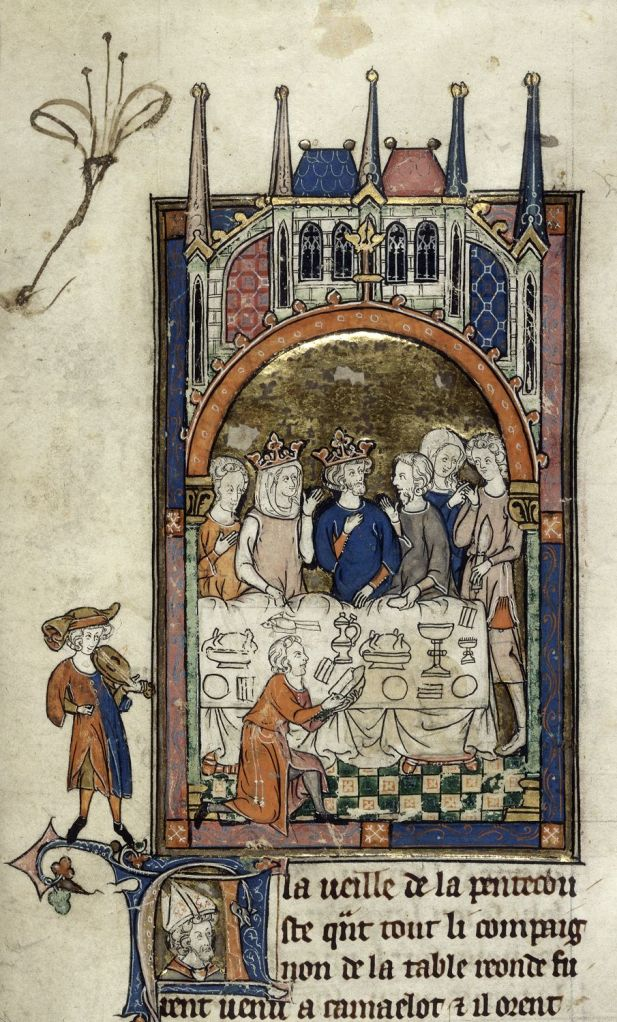 British Library Royal 14 E iii, King Arthur's Court.