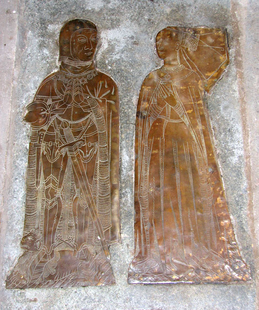 Memorial brass for William Yelverton and his wife, who wears a butterfly henin. St Mary's Church, Rougham, Norfolk, 1472.