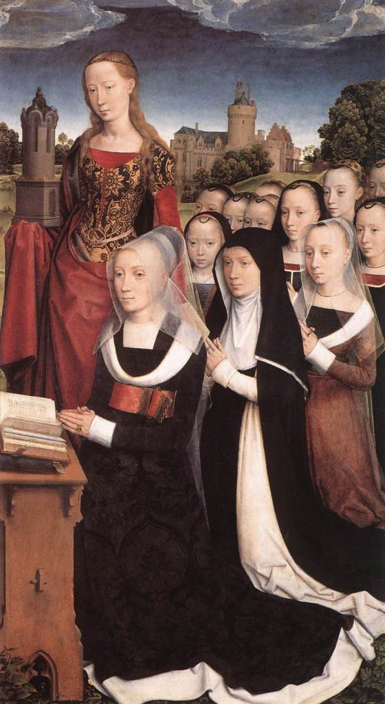 Panel of a triptych showing the Moreel Family by Hans Memling (1484). Barbara Moreel wears a truncated henin and cointoise (and red girdle), while the girls behind her wear headbands with loops.