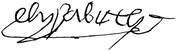 Elizabeth's signature from 1491.