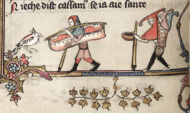 Carrying twins in the margins of the Romance of Alexander, Oxford, Bodleian Library Bodley 264.