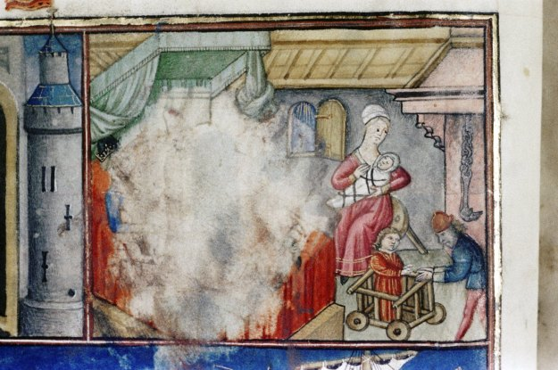 Baby walker in Oxford, Bodleian Library Douce 353