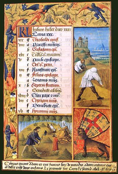 Working parents in July. Jean Colombe, Heures de Louis de Laval, BnF, Latin 920, fol. 11.