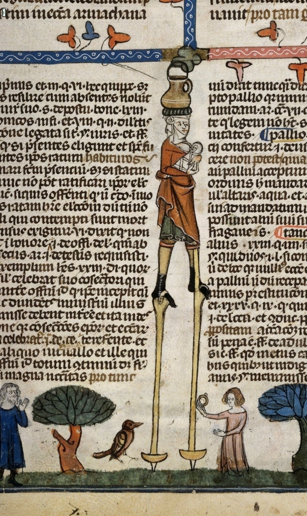 Multitasking mum breastfeeds, walks on stilts and balances pot. British Library Royal 10 E iv.