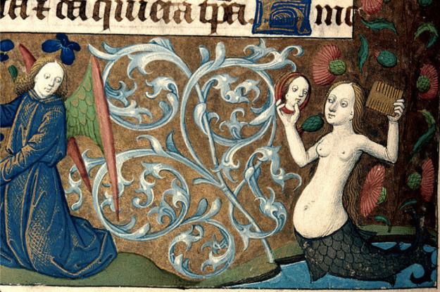 Mermaid from Besançon, BM MS 69. Breviary, use of Besançon. Rouen.