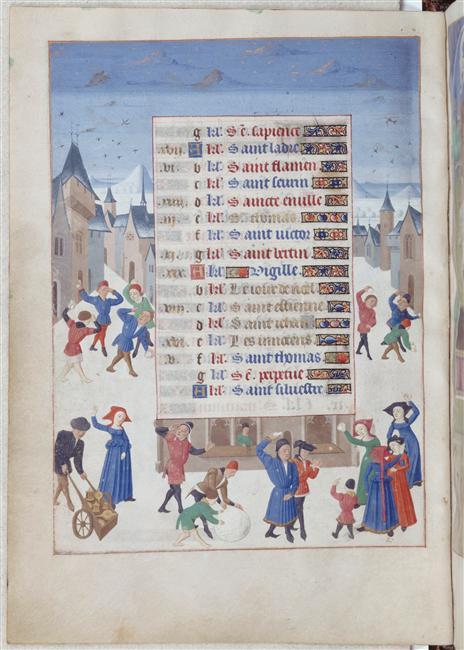 December the Book of Hours of Adélaïde de Savoie (Musée Condé 78, fol. 12v), c. 1460-1465