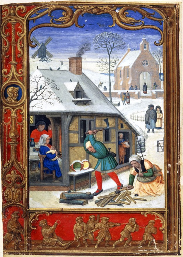 Tobogganing in 'The Golf Book', British Library MS Addition 24098.
