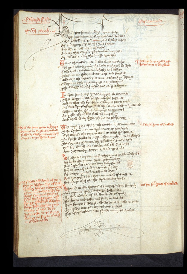 The unique manuscript of the Chronicle Hardyng wrote for Henry VI. British Library MS Lansdowne 204, f. 168v.