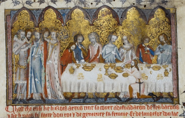 Feasting at King Arthur's Court in British Library MS Royal 20 D iv.