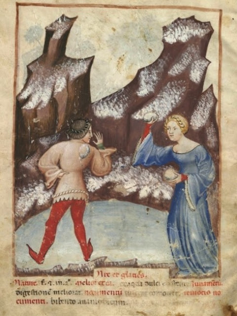 snow fight in Tacuinum Sanitatis (c. 1390-1400)