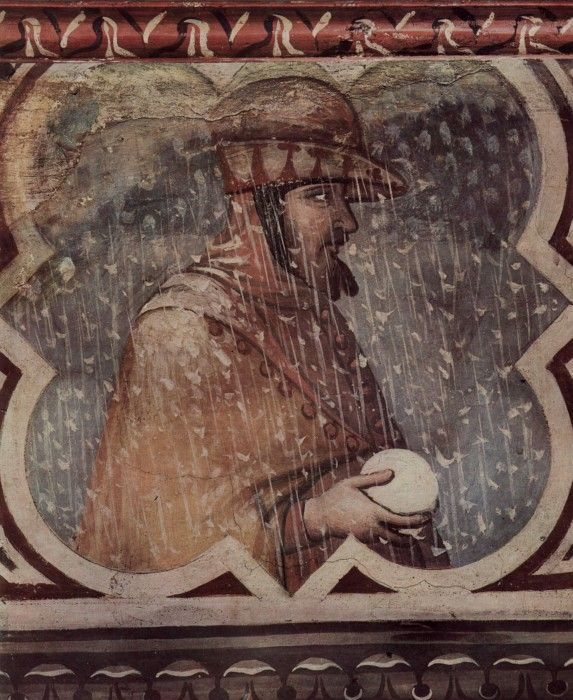 Allegory of Winter by Ambrogio Lorenzetti fresco in the Palazzo Publico of Siena, c. 1338-1340.