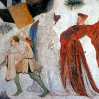 Fresco depicting January at Castello Buonconsiglio, Trento, Italy, c. 1405-1410.