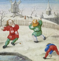 Snowball fight in Walters Art Museum, W42512R. Flemish, c. 1510.