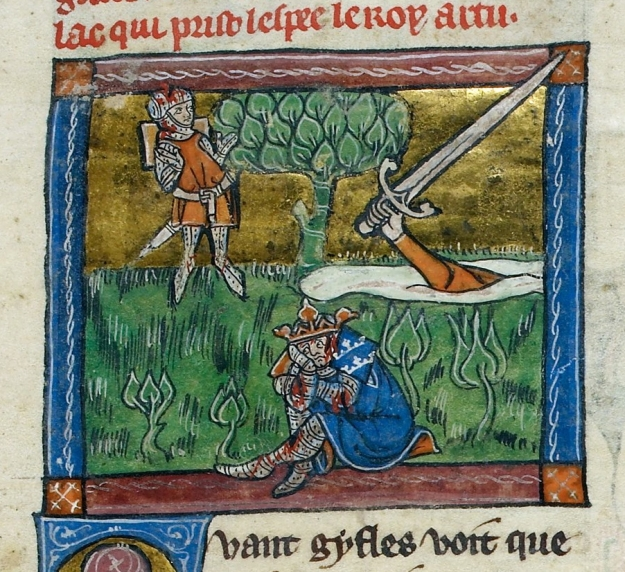 King Arthur returns his sword in British Library MS Additional 10294.