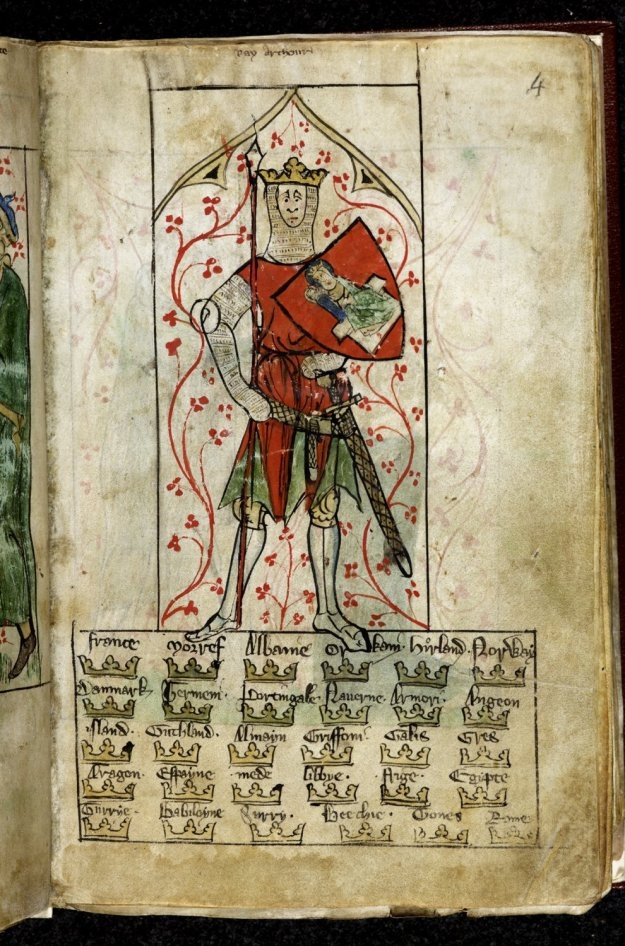 Arthur stood on top of the names of all the kingdoms subject to his rule. British Library MS Royal 20 Aii.