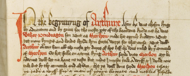 Detail of Thomas Malory's Morte Darthur, British Library MS Additional 59678, f. 35r.