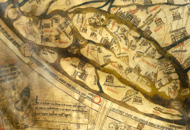 Britain on the Hereford Mappa Mundi (left).