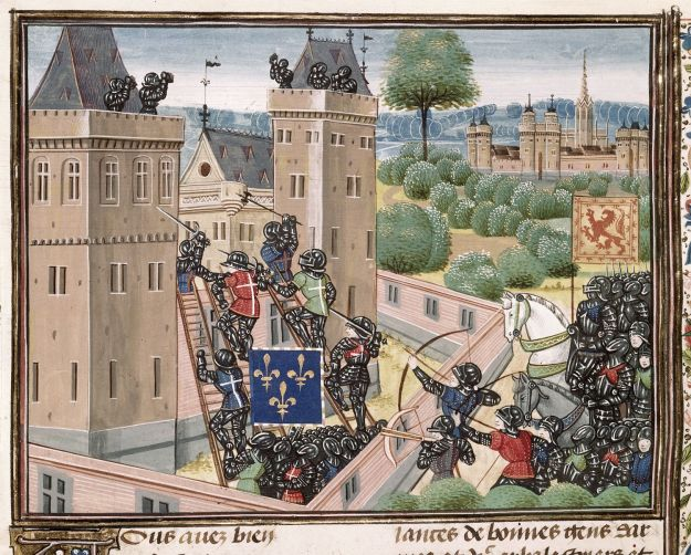 Capture of Wark Castle in British Library Royal 18 E i.