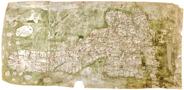The Gough Map, orientated with east at top.