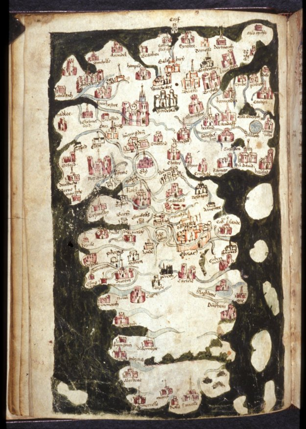 Map of Britain in British Library Harley 1808 (the map is orientated with South at the top).