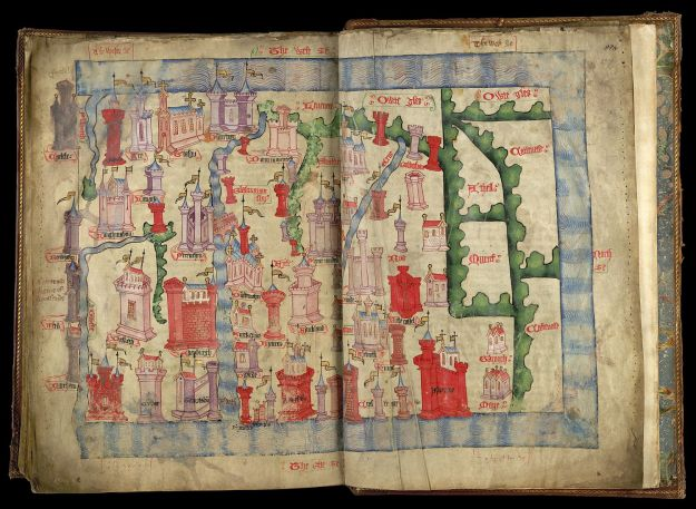 Hardyng's Map of Scotland in British Library MS Lansdowne 204 (orientated with west at the top).