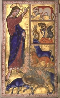 God Creating land animals in the Aberdeen Bestiary