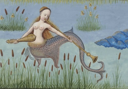 Detail of Mermaid from Bibliothèque nationale de France, MS français 143, f. 130v (with permission from the library)
