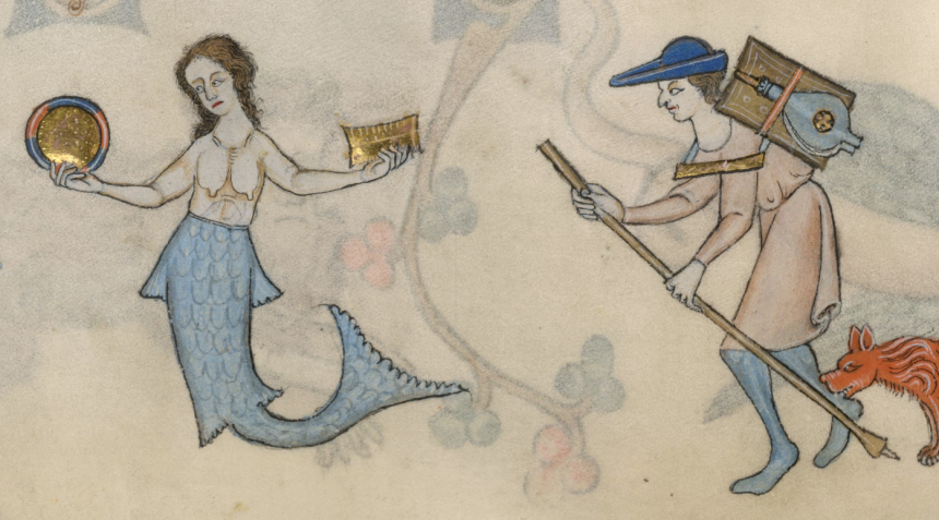 Mermaid holding a comb and mirror in 'The Luttrell Psalter', British Library MS 42130, f. 70v.