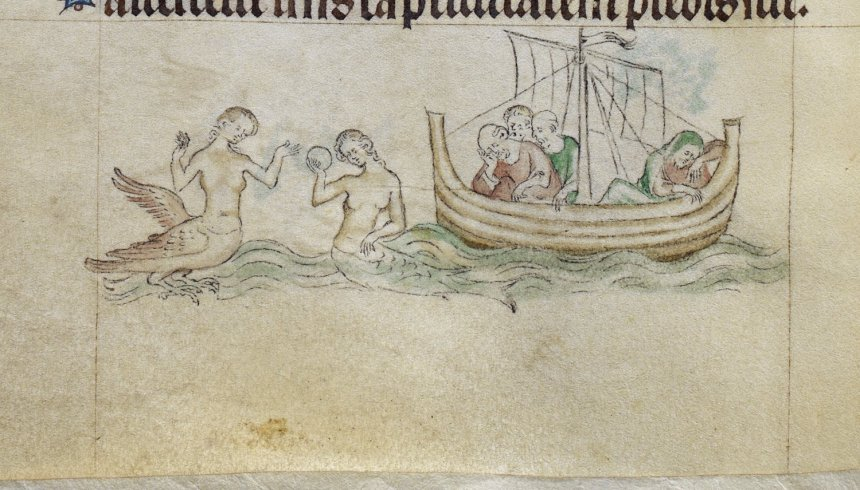 Sirens planning an attack on sleeping sailors in 'The Queen Mary Psalter', British Library MS Royal 2 B VII, f. 96v