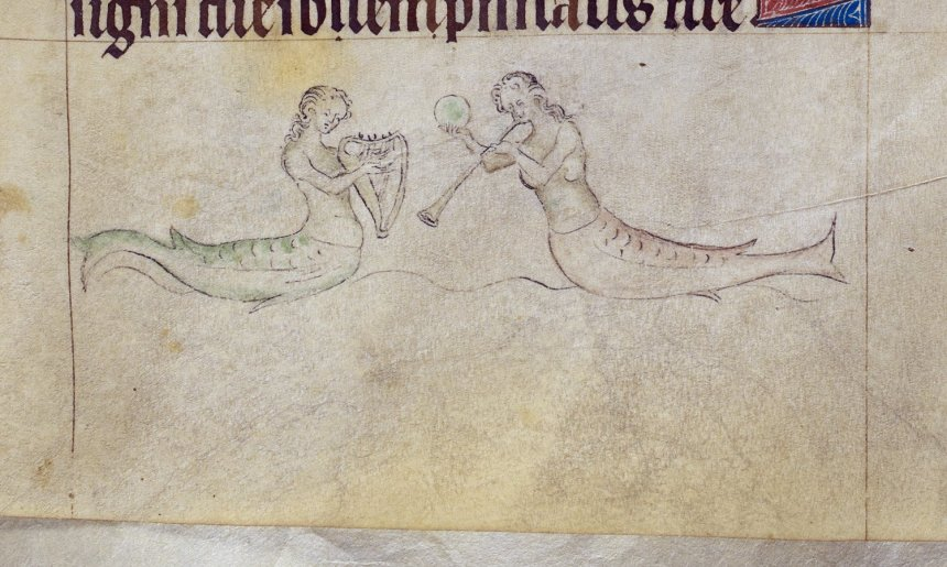 Mermaids making music in 'The Queen Mary Psalter', British Library MS Royal 2 B VII, f. 191