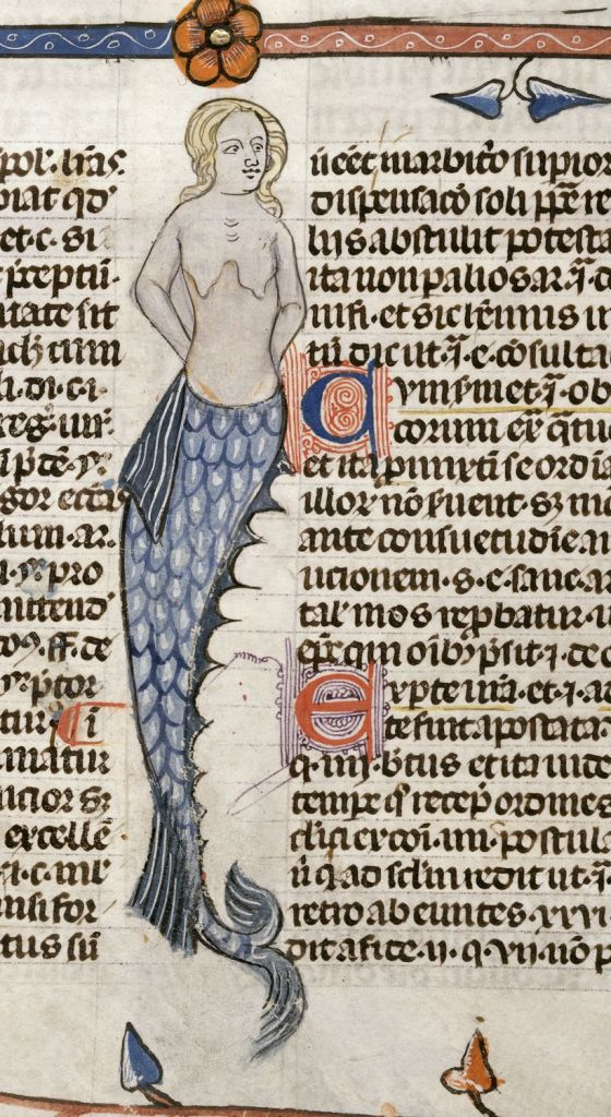 Mermaid in 'The Smithfield Decretals', British Library MS Royal 10 E IV, f. 47